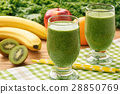 Healthy fresh smoothies with fruits and green kale 28850769