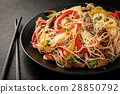 Asian salad with rice noodles, beef and vegetables 28850792