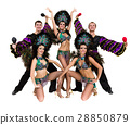 samba dancer team dancing isolated on white in 28850879
