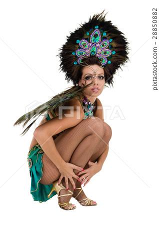 one caucasian woman samba dancer dancing isolated 28850882