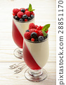Dessert - panna cotta with berry jelly and berries 28851170