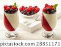 Dessert - panna cotta with berry jelly and berries 28851171