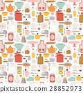 Kitchen set icon seamless pattern 28852973