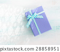 Blue gift ribbon pastel background. Fathers day 28858951