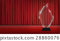 real 3d transparent acrylic trophy with red curtai 28860076
