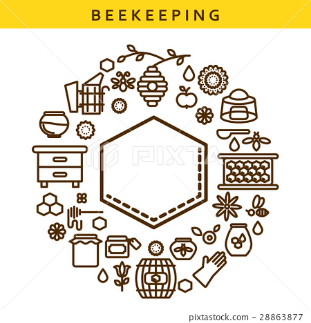 Beekeeping vector line icon label emblem. 28863877
