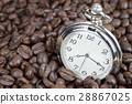 Classic pocket watch on coffee beans background 28867025
