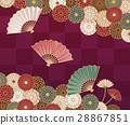 국화와 부채의 전통적인 일본식 디자인 28867851