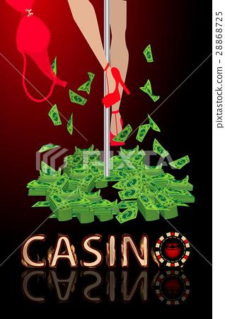 casino entertainment strip bra money. illustration 28868725