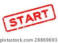 Grunge red start square rubber seal stamp 28869693