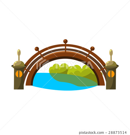 Wooden Bridge Over River Bonsai Miniature Stock Illustration 28873514 Pixta