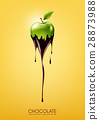 Green apple dipped melting dark chocolate, fruit 28873988