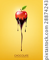 Red apple dipped in melting dark chocolate, fruit 28874243