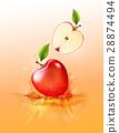 Red apple drop on juice splash and ripple 28874494