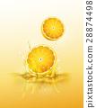 Lemon drop on juice splash and ripple 28874498