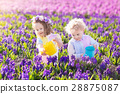 Kids plant and water flowers in spring garden 28875087