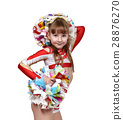 cheerleader girl with white and red dress 28876270