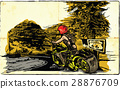 An woman riding motorcycle. An hand drawn vector. 28876709
