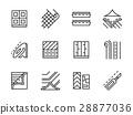 Linoleum black line vector icons set 28877036