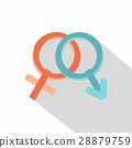 Male and female gender signs icon, flat style 28879759
