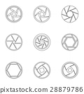 Types of aperture icons set, outline style 28879786