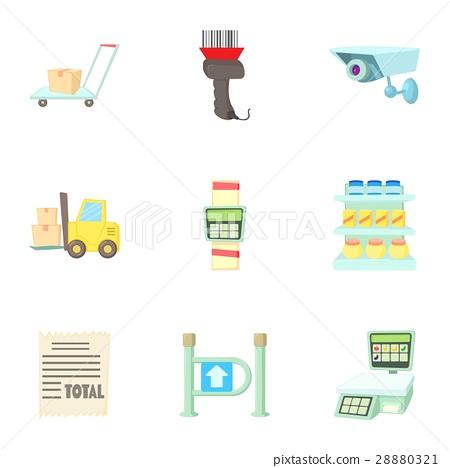 Store icons set, cartoon style 28880321
