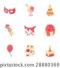 Holiday birthday icons set, cartoon style 28880369