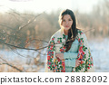 beautiful model in a traditional Russian scarf winter 28882092