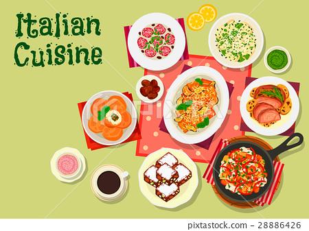 Italian cuisine lunch menu icon for food design 28886426