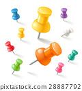 Push pins icons set. Vector illustrations. 28887792