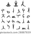 Yoga woman poses icons set. Vector illustrations. 28887839
