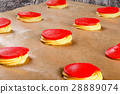 dough with red  crumble for baking cakes shu 28889074