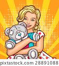Vector pop art smiling little girl hugging her 28891088