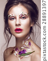 Beautiful girl with art make-up and flowers 28891397