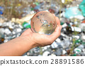 Globe in hands on garbage background. 28891586