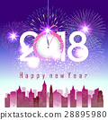 Happy new year 2018 with  girl exercise yoga 28895980