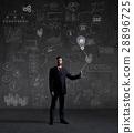 Businessman on a schematic background 28896725