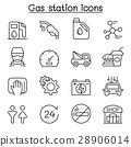 Gas station icon set in thin line style 28906014