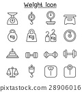 Weight, scale, balance, icon set in thin line  28906016