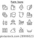 Farm icon set in thin line style 28906023
