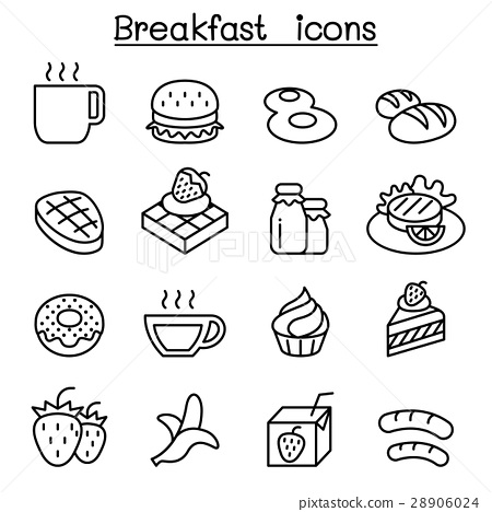 Breakfast icon set in thin line style 28906024