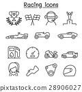 Racing icon set in thin line style 28906027
