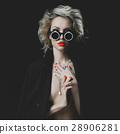 Fashion blonde with bright makeup and accessories 28906281