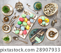 Easter table decorations colored eggs Flat lay 28907933