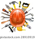 Vector Construction Helmet with Tools 28910919