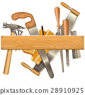 Vector Wooden Plank with Retro Tools 28910925