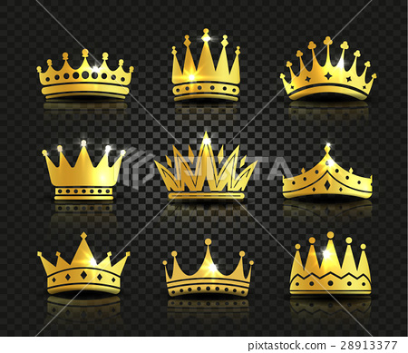 Isolated golden color crowns logo collection on 28913377