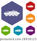 Armored personnel carrier icons set 28916123