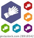 Clapping applauding hands icons set 28916542