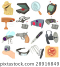 Spy and security icons set, cartoon style 28916849